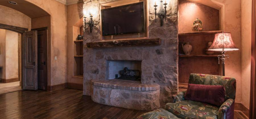 Cozy fireplace in master