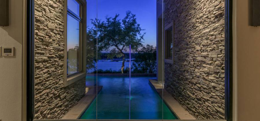 Window  showing  pool as you enter home