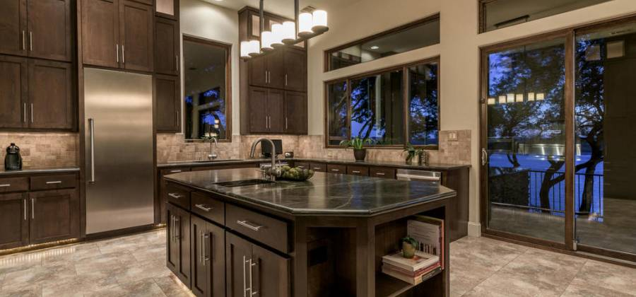 Walls of windows in this gourmet kitchen