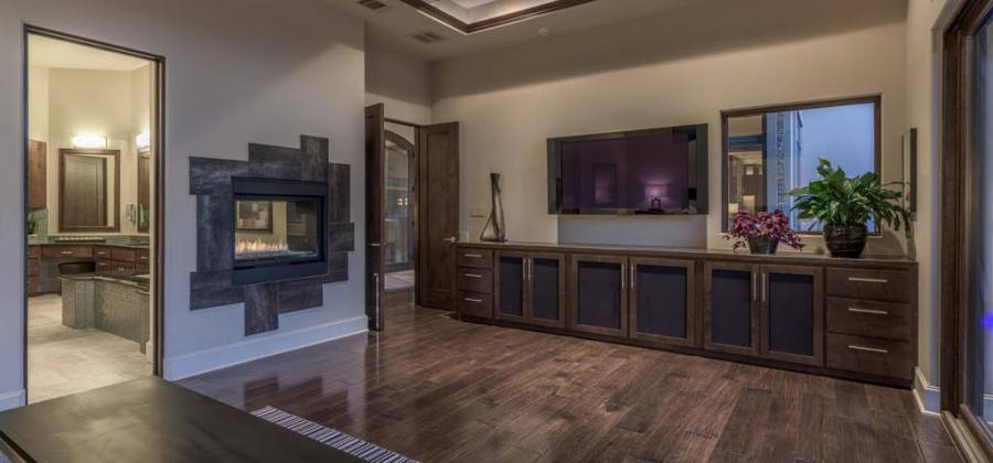 Spacious master with fireplace